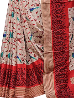 conversational printed saree with blouse - 15726347 - Standard Image - 4