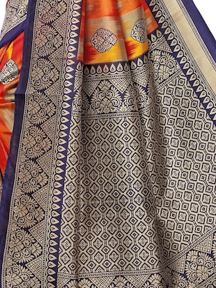 contrast border mysore silk saree with blouse - 15726351 - Standard Image - 4