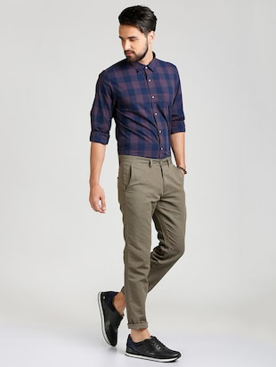 grey cotton blend chinos - 15727668 - Standard Image - 4