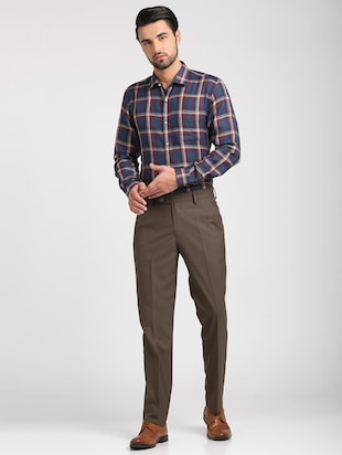 brown polyester blend flat front trousers formal - 15727697 - Standard Image - 4