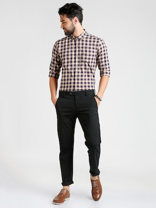 black cotton blend chinos - 15727701 - Standard Image - 4