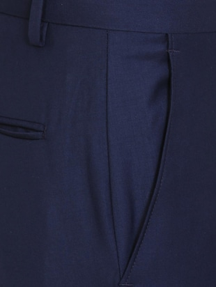 navy blue terry rayon flat front formal trouser - 15727738 - Standard Image - 4