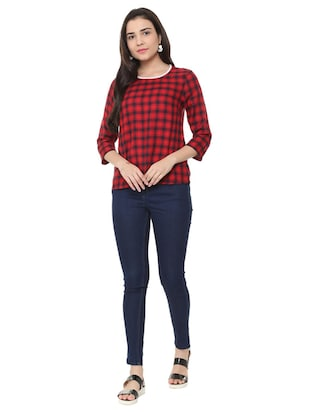round neck checkered top - 15728395 - Standard Image - 4