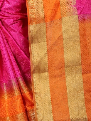 contrast zari border banarasi saree with blouse - 15728874 - Standard Image - 4