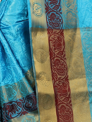 conversational zari motif banarasi saree with blouse - 15728877 - Standard Image - 4