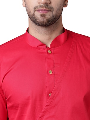 red cotton asymmetric kurta - 15729274 - Standard Image - 4