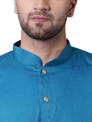 blue cotton asymmetric kurta - 15729275 - Standard Image - 4