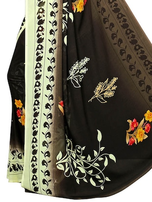 floral printed saree with blouse - 15729573 - Standard Image - 4