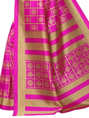 checkered printed saree with blouse - 15729605 - Standard Image - 4