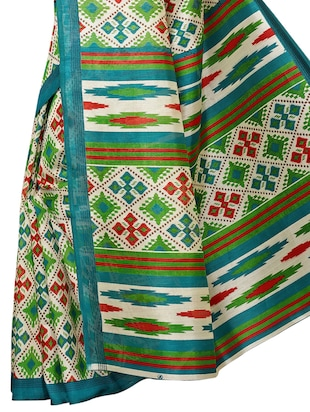 geometrical bhagalpuri saree with blouse - 15729653 - Standard Image - 4