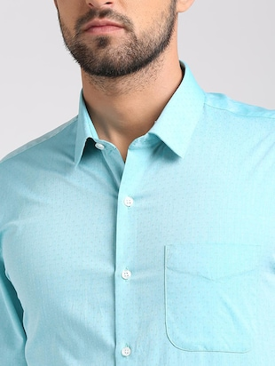 blue cotton formal shirt - 15729845 - Standard Image - 4