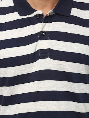 navy blue cotton polo t-shirt - 15729939 - Standard Image - 4