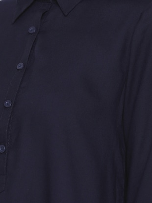navy blue button detail tunic - 15730327 - Standard Image - 4
