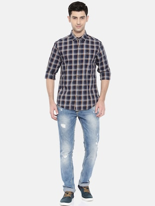 blue cotton casual shirt - 15731554 - Standard Image - 4