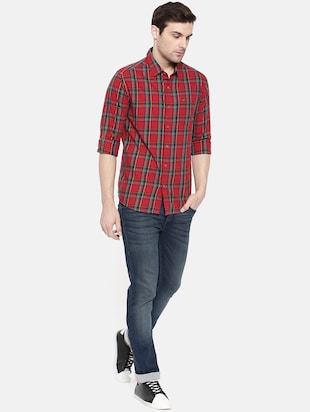 red cotton casual shirt - 15731580 - Standard Image - 4
