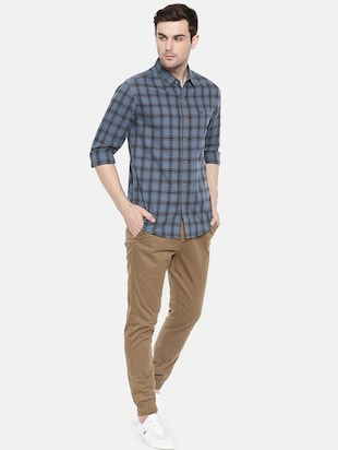 blue cotton casual shirt - 15731591 - Standard Image - 4