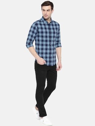 blue cotton casual shirt - 15731601 - Standard Image - 4