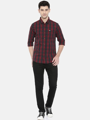 red cotton casual shirt - 15731625 - Standard Image - 4