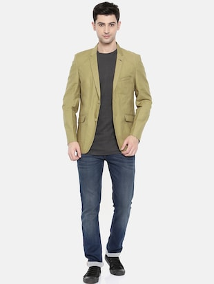 green cotton single breasted blazer - 15731674 - Standard Image - 4