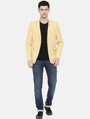 beige cotton single breasted blazer - 15731677 - Standard Image - 4