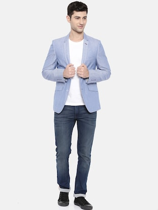 light blue cotton single breasted blazer - 15731678 - Standard Image - 4