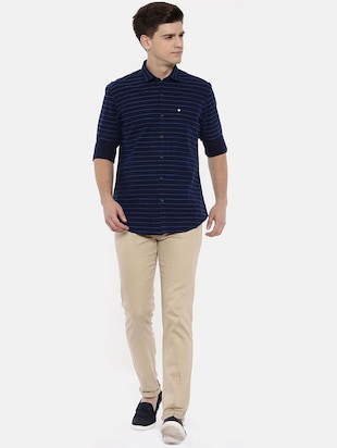 navy blue cotton casual shirt - 15731789 - Standard Image - 4