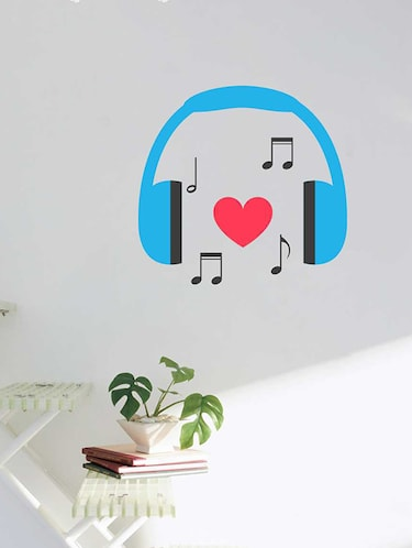 Rawpockets Wall Decals ' Headphone Music Wall Sticker '  Wall stickers (PVC Vinyl) Multicolour - 15733314 - Standard Image - 1