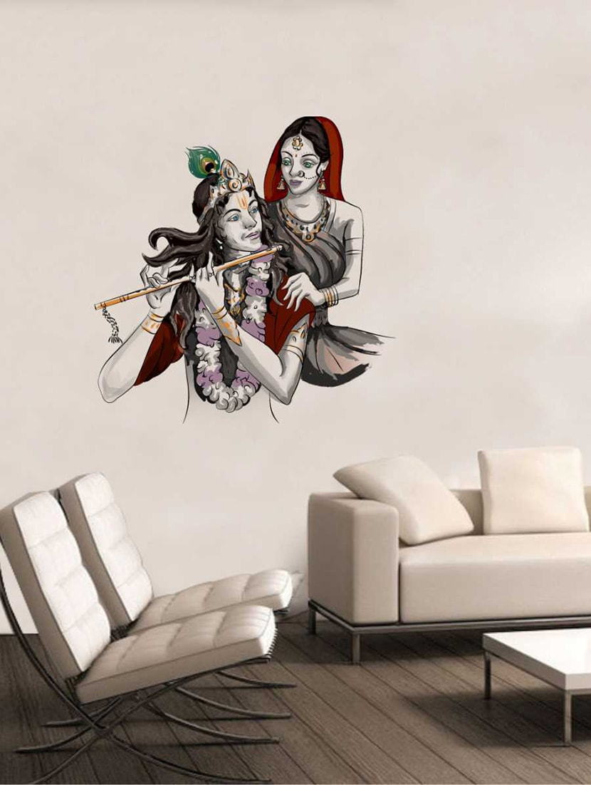 55897b5ce7f Buy Rawpockets Wall Decals   Lord Krishna With Radha Wall Decal Sticker   Wall  Stickers (pvc Vinyl) Multicolour for Unisex from Rawpockets for ₹199 at 78%  ...