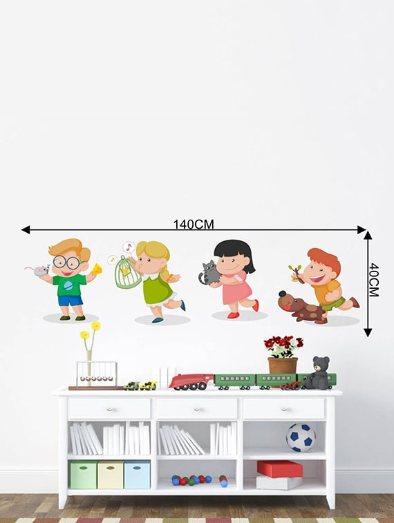Buy Rawpockets Wall Decals Kids Room Kids Playing With Animals
