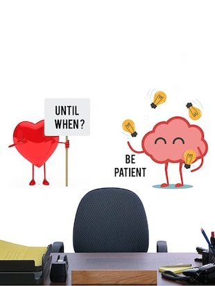 Rawpockets Wall Decals ' Heart and Brain Fight '  Wall stickers (PVC Vinyl) Multicolour - 15733873 - Standard Image - 4