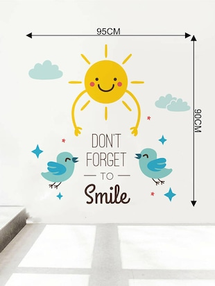 Rawpockets Wall Decals ' Don't Forget To Smile  '  Wall stickers (PVC Vinyl) Multicolour - 15733875 - Standard Image - 4