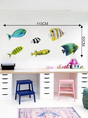 Rawpockets Wall Decals ' Colorful Fish  '  Wall stickers (PVC Vinyl) Multicolour - 15733885 - Standard Image - 4