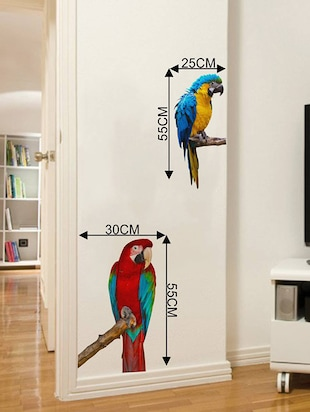 Rawpockets Wall Decals ' Green Wing Macaw Parrot '  Wall stickers (PVC Vinyl) Multicolour - 15733887 - Standard Image - 4