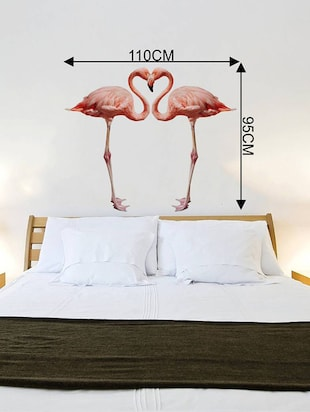 Rawpockets Wall Decals ' Bed Room Pink Flamingo '  Wall stickers (PVC Vinyl) Multicolour - 15733889 - Standard Image - 4