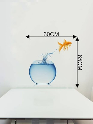 Rawpockets Wall Decals ' Living Room Fish Jumping From Pot '  Wall stickers (PVC Vinyl) Multicolour - 15733891 - Standard Image - 4