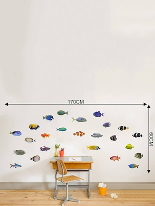 Rawpockets Wall Decals ' Living Room Fish Family '  Wall stickers (PVC Vinyl) Multicolour - 15733893 - Standard Image - 4