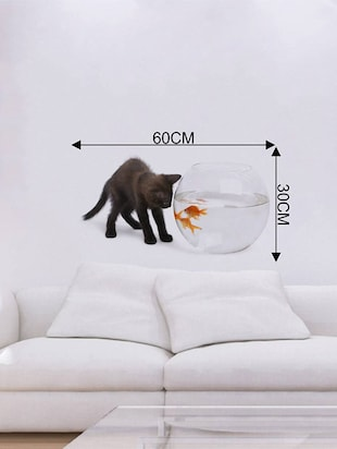 Rawpockets Wall Decals ' Cat and Fish Bowl Abstract '  Wall stickers (PVC Vinyl) Multicolour - 15733902 - Standard Image - 4