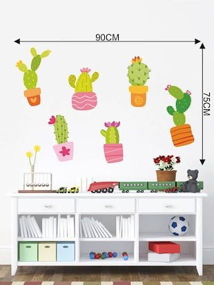 Rawpockets Wall Decals ' Cactus Story '  Wall stickers (PVC Vinyl) Multicolour - 15733904 - Standard Image - 4