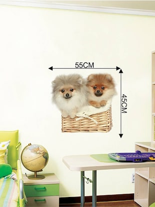 Rawpockets Wall Decals ' Cute Puppies on Basket '  Wall stickers (PVC Vinyl) Multicolour - 15733907 - Standard Image - 4