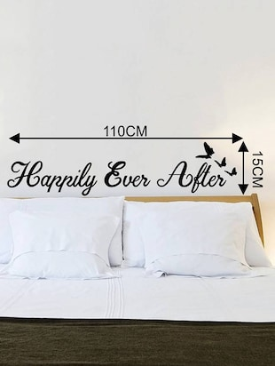 Rawpockets Wall Decals ' Happily Ever After Quote '  Wall stickers (PVC Vinyl) Multicolour - 15733915 - Standard Image - 4