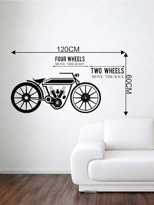 Rawpockets Wall Decals ' Four Wheels Two Wheels '  Wall stickers (PVC Vinyl) Multicolour - 15733916 - Standard Image - 4