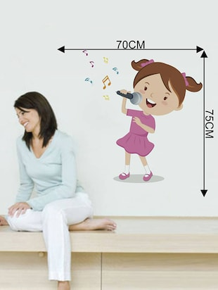 Rawpockets Wall Decals ' Girl Singing Songs '  Wall stickers (PVC Vinyl) Multicolour - 15733931 - Standard Image - 4