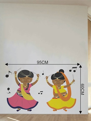 Rawpockets Wall Decals ' Dandiya with Music '  Wall stickers (PVC Vinyl) Multicolour - 15733936 - Standard Image - 4