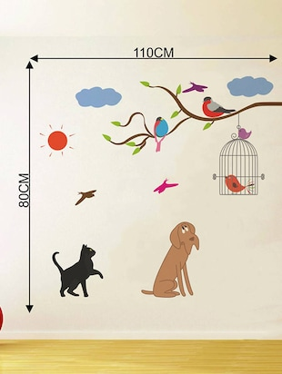 Rawpockets Wall Decals ' Birds and Animals  '  Wall stickers (PVC Vinyl) Multicolour - 15733939 - Standard Image - 4