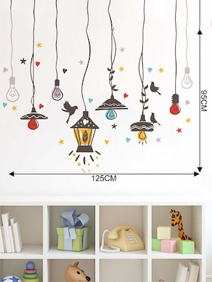 Rawpockets Wall Decals ' Birds Nest and Lights Sparkling '  Wall stickers (PVC Vinyl) Multicolour - 15733941 - Standard Image - 4