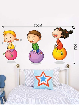 Rawpockets Wall Decals ' Kids Playing Ball Game '  Wall stickers (PVC Vinyl) Multicolour - 15733942 - Standard Image - 4