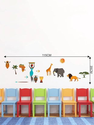 Rawpockets Wall Decals ' African Tribe Story '  Wall stickers (PVC Vinyl) Multicolour - 15734021 - Standard Image - 4