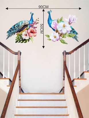 Rawpockets Wall Decals ' Peacock Pair on Flowers '  Wall stickers (PVC Vinyl) Multicolour - 15734022 - Standard Image - 4
