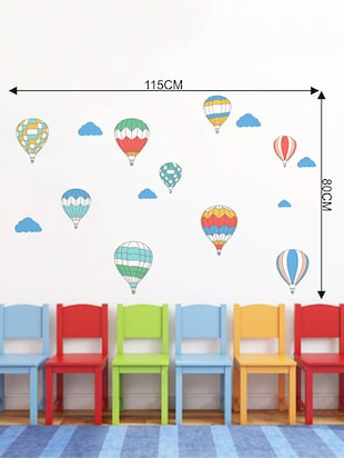 Rawpockets Wall Decals ' Air Ballon Story - Kid's Room '  Wall stickers (PVC Vinyl) Multicolour - 15734027 - Standard Image - 4