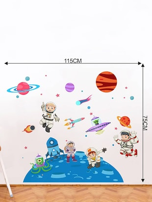 Rawpockets Wall Decals ' Kid's on Space - Kid's Room '  Wall stickers (PVC Vinyl) Multicolour - 15734033 - Standard Image - 4